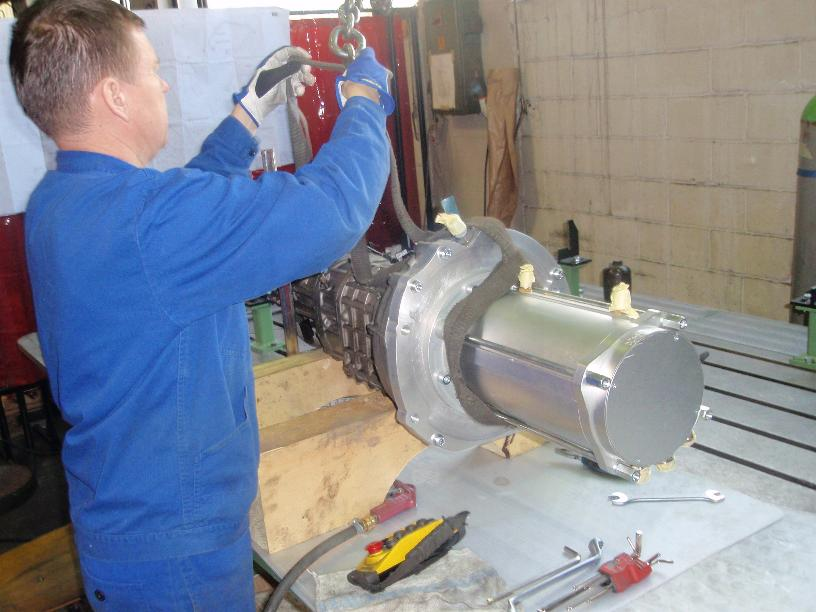 April 2011 - setting up the new bigger motor and gearbox at Oprema Ravne workshop